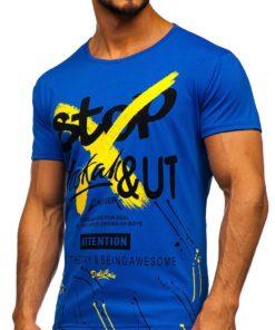 Tricou cu imprimeu albastru bărbați Bolf KS1944