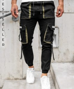 Pantaloni cargo negri bărbati Bolf KA1911