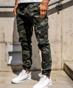 Pantaloni cargo verde-închis cu curea bărbați Bolf CT67015
