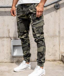 Pantaloni cargo verde cu curea bărbați Bolf CT67015
