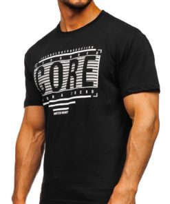 Tricou negru cu imprimeu Bolf SS11071