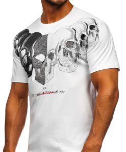 Tricou alb cu imprimeu bărbați Bolf 192153