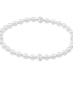 Bratara din argint cu perle sintetice si zirconii model DiAmanti DIA39624