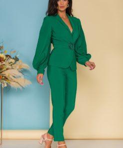 Compleu LaDonna by Catalin Botezatu verde cu sacou si pantaloni