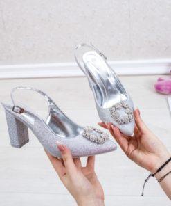 Pantofi cu toc argintii dama Defrina