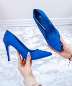 Pantofi cu toc dama albastri gliter Ianida-rl