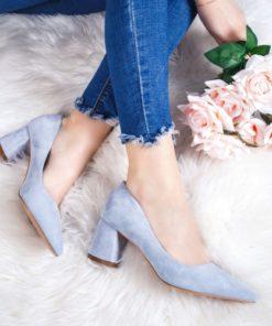 Pantofi cu toc dama albastri deschis Reavia -rl