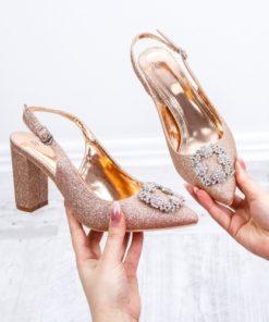 Pantofi cu toc dama aurii Defrina -rl
