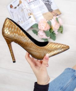 Pantofi cu toc dama aurii Kalonia-rl