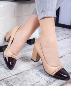 Pantofi cu toc dama bej cu maro Derida-rl