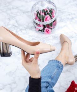 Pantofi cu toc dama bej Lavisia-rl