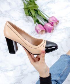 Pantofi cu toc dama bej Morito-20-rl