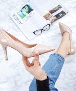 Pantofi cu toc dama bej Prexi-rl
