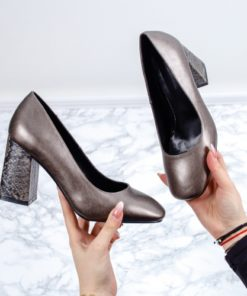 Pantofi cu toc dama gri Fania-rl