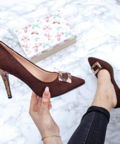 Pantofi cu toc dama maro Experia-rl