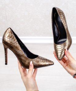 Pantofi cu toc dama maro Kalonia
