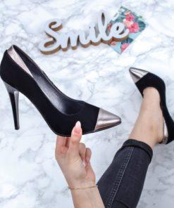 Pantofi cu toc dama negri cu argintiu Dadana-rl