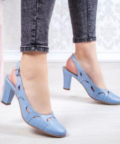 Pantofi cu toc dama Piele albastri Bisun-20