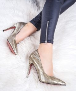 Pantofi dama cu toc champagne Kalonia -rl