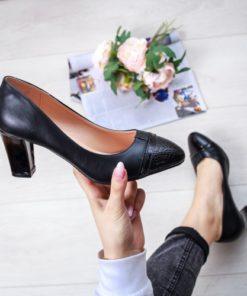Pantofi dama cu toc negri Coralis -rl