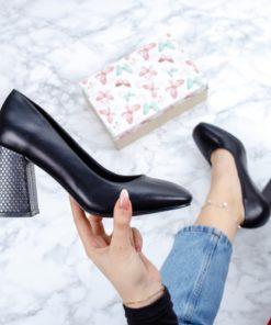 Pantofi dama cu toc negri Fania-rl