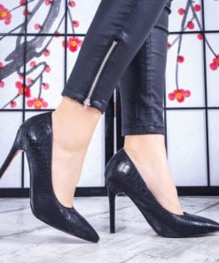 Pantofi dama cu toc negri Kalonia -rl