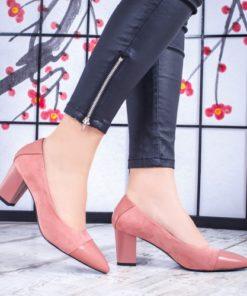 Pantofi dama cu toc roz Lucerita-rl