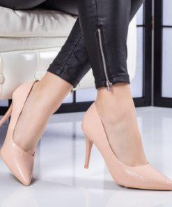 Pantofi dama cu toc roz pal Zimalia -rl