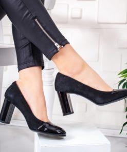 Pantofi Piele Koller negri cu toc gros