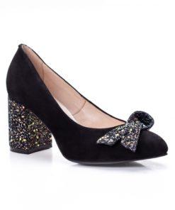 Pantofi dama piele naturala cu toc negri Agustina