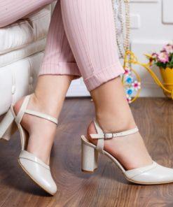 Pantofi Piele Rubina bej cu toc