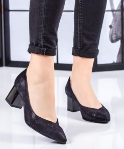 Pantofi Piele Rulemo negri cu toc mic