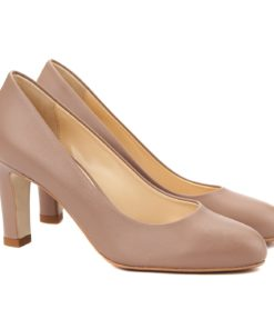 Pantofi stiletto eleganti din piele bej 4066