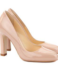 Pantofi dama stiletto din piele bej-nude 4064