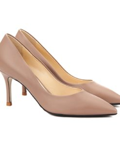 Pantofi stiletto eleganti din piele bej 4052