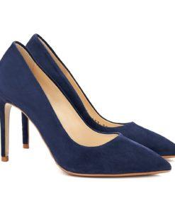 Pantofi dama stiletto eleganti din piele bleumarine 4057