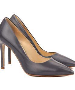 Pantofi dama stiletto din piele naturala gri 4059