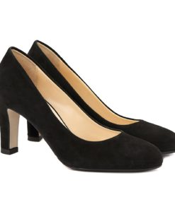 Pantofi dama stiletto din piele intoarsa neagra 4061