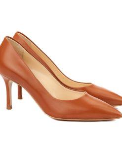 Pantofi dama stiletto eleganti din piele maro 4054