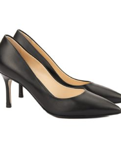 Pantofi stiletto eleganti din piele neagra 4051
