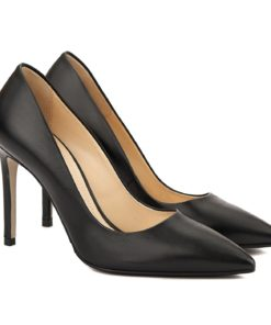 Pantofi stiletto eleganti din piele neagra 4060