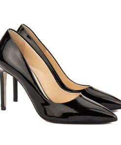 Pantofi dama stiletto din piele neagra lacuita 4065