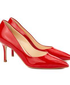 Pantofi stiletto eleganti din piele rosie 4053