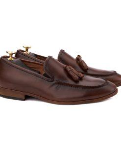 Mocasini eleganti din piele naturala maro 0125