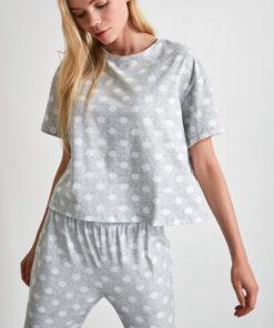Pijama din bumbac cu imprimeu cu buline 2991740