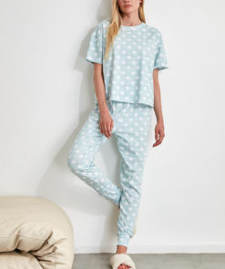 Pijama din bumbac cu imprimeu cu buline 2991762