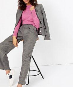 Pantaloni drepti cu pliuri frontale 2320975