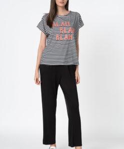Pantaloni de pijama si tricou cu dungi 2988435
