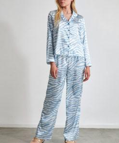 Pijama din satin cu animal print 2991837