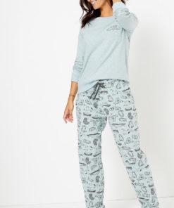 Pijama din amestec de bumbac cu imprimeu 2619902
